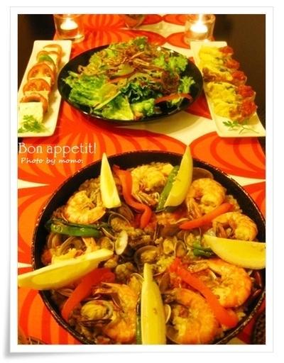 久々の♪Spanish Dinner~パエリア、バジルポテトオムレツ、ハーブ塩豆腐のカプレーゼ~