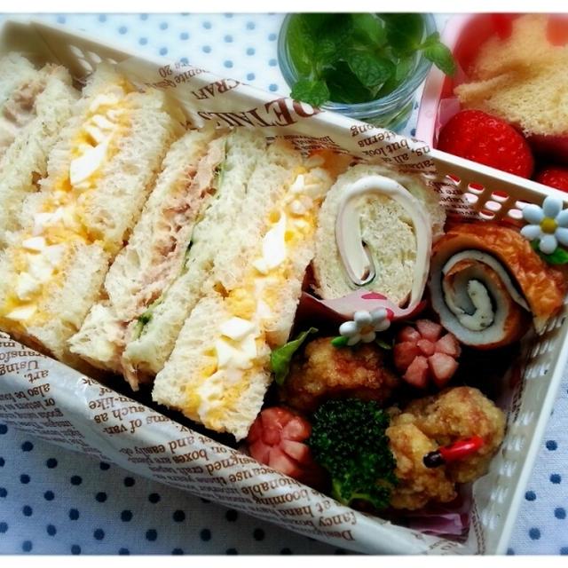 いよいよお弁当ラストの日~♪サンドウィッチ弁当で締め括っちゃいま~す(*´ω`*)