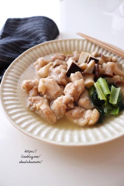 つるんと美味しい!鶏肉ときのこで優しい味の鷄出汁煮