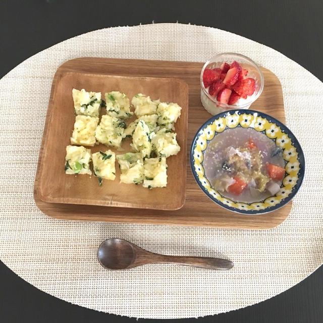 【幼児食】4/14のまとめ☆小松菜としらすのご飯オムレツ&ポークチャップ風炒め