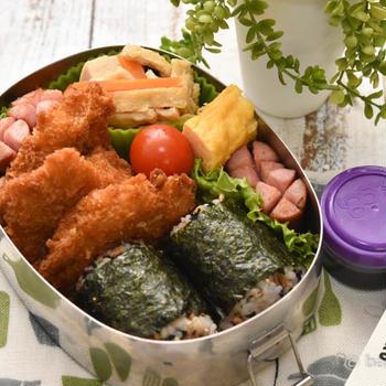 中学生男子弁当|ヒレカツ・高野豆腐の煮物・卵焼き・おにぎり