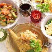 鶏骨付きもも肉のカレークリーム煮と洋風ディナー
