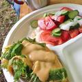 フライパンで山の野菜チーズフォカッチャ