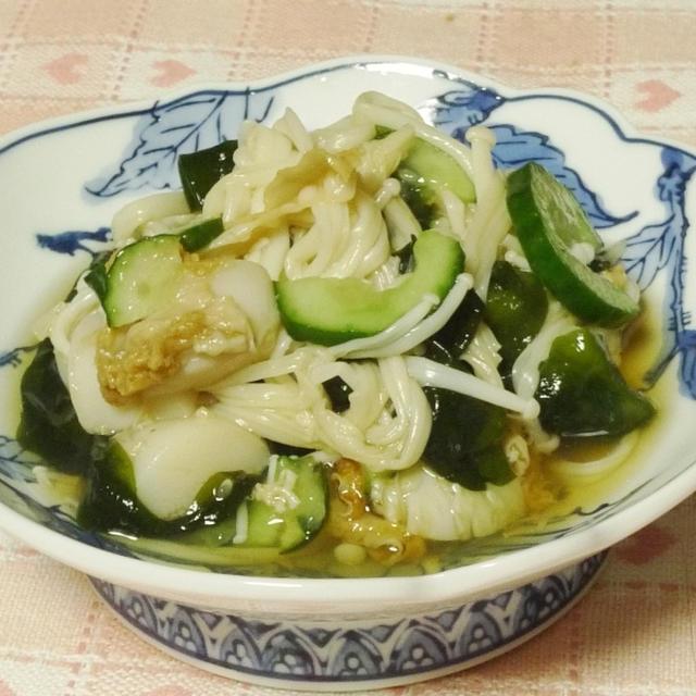 ボイルホタテとエノキの酢の物サラダ