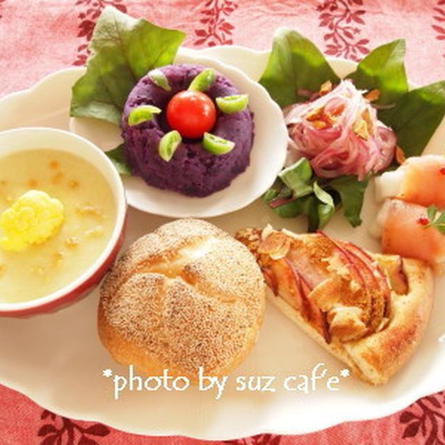 見直しパン de 彩りワンプレート朝食。。。