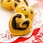 ホットケーキミックスで超簡単15分♪チョコチップ入りお菓子なパン♡ハートのミニチョコ パン♥バレンタイン やおやつに&大阪十日戎