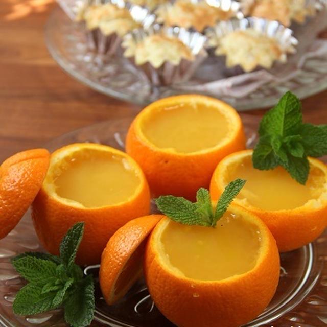オレンジゼリー と りんごのビスケット。