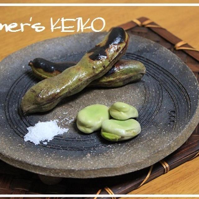 栗の花が満開です♪  ~レシピは『焼き空豆』です~
