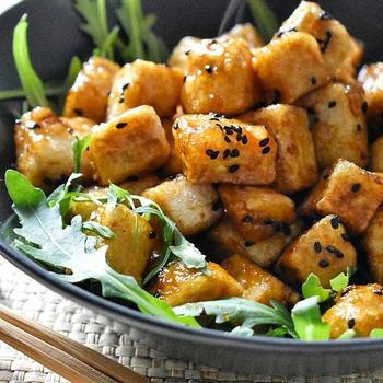 サイコロ揚げ豆腐の照り焼き