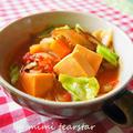 干し椎茸と高野豆腐のミネストローネ【乾物イタリアン・スープ】