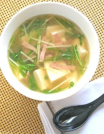 寒い夜は、、熱々とろとろで温まろう〜豆腐とハムと水菜のスープ。