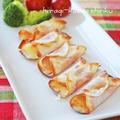 トースターで簡単おつまみ*ハム&チーズのパリパリ餃子の皮包み