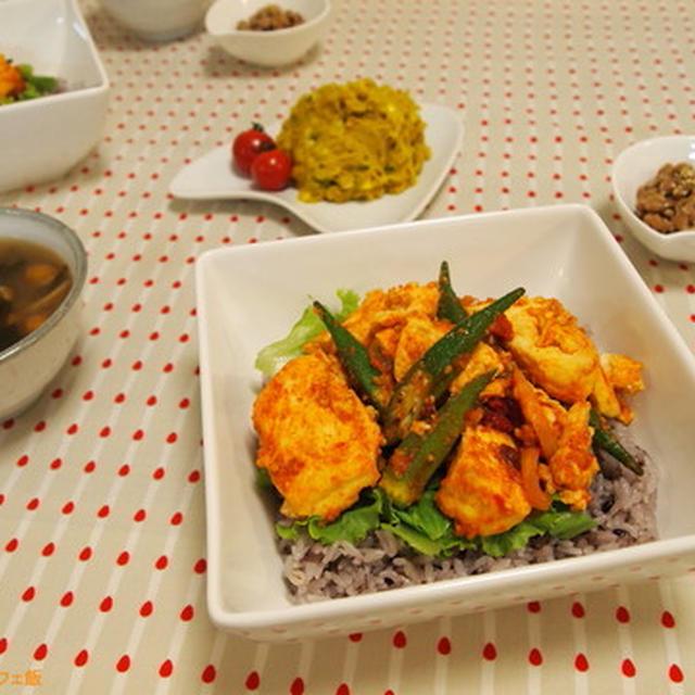 ピリ辛美味しい!豆腐とオクラの韓国丼☆