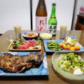 【家飲み】 激安マグロと 日本酒 * 花邑 純米 陸羽田 生酒