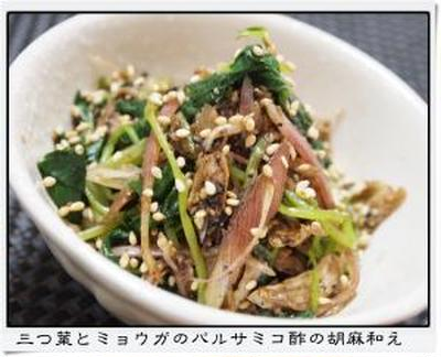 ✿三つ葉とミョウガのバルサミコ酢の胡麻和え✿