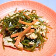 切り昆布と豚肉の炒め煮。箸休めにもなるほっこり和の副菜。