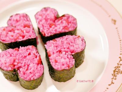 巻き寿司(ハート)│バレンタイン*節分│レシピ