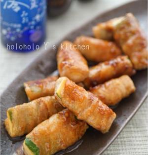 ズッキーニの豚バラ巻き~生姜焼き仕立て