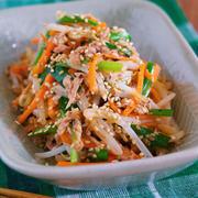 茹でません!!抱えて食べたい♪『シャキシャキ♡湯かけ野菜の3色ナムル』