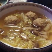 白菜と鶏つくねのスープ