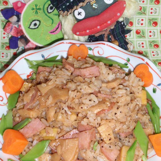 中華風筍おこわ&ベーコン入り新玉ネギの丸ごとサラダ(お家カフェ)