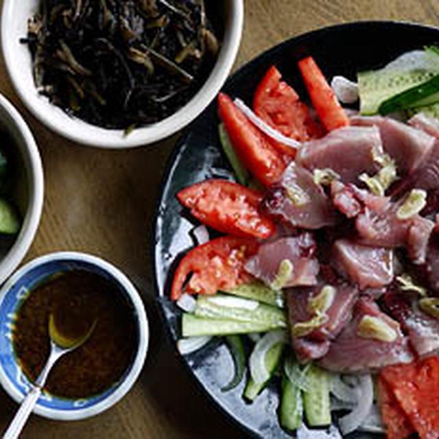 6月5日の晩ごはん …初鰹と新タマネギのサラダ