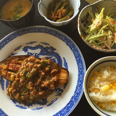 とうもろこしご飯、米なすステーキのあんかけ、ブロッコリースローなど。