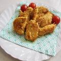 鶏むね肉で♪カレーマヨソース味のパン粉焼き