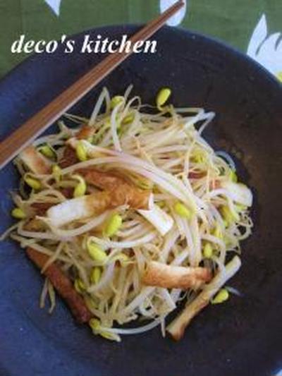 豆もやしとちくわの、ピリ辛炒め。