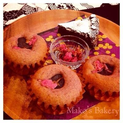 桜あんこのカップケーキとボンちゃんのおからのガトーショコラ♪