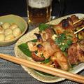 豚串と鶉の味玉煮