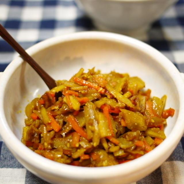 ご飯がススム! ゴボウとニンジンと玉ねぎのカレー炒め