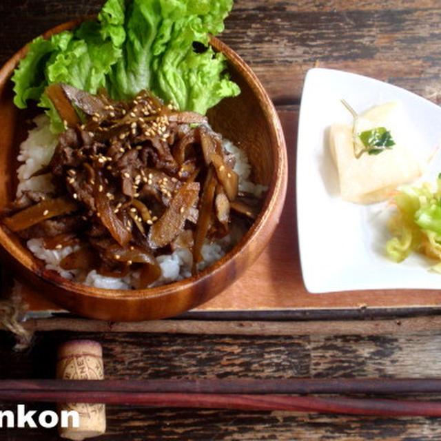 【簡単カフェ丼】牛肉とごぼうの丼 のち 卵とじ