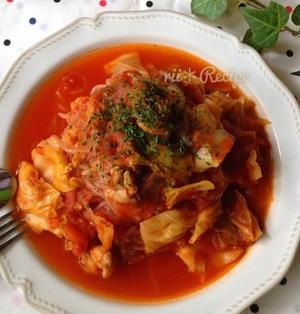 鶏むね肉と糸こんにゃくのトマトソースパスタ クックパッド話題入り