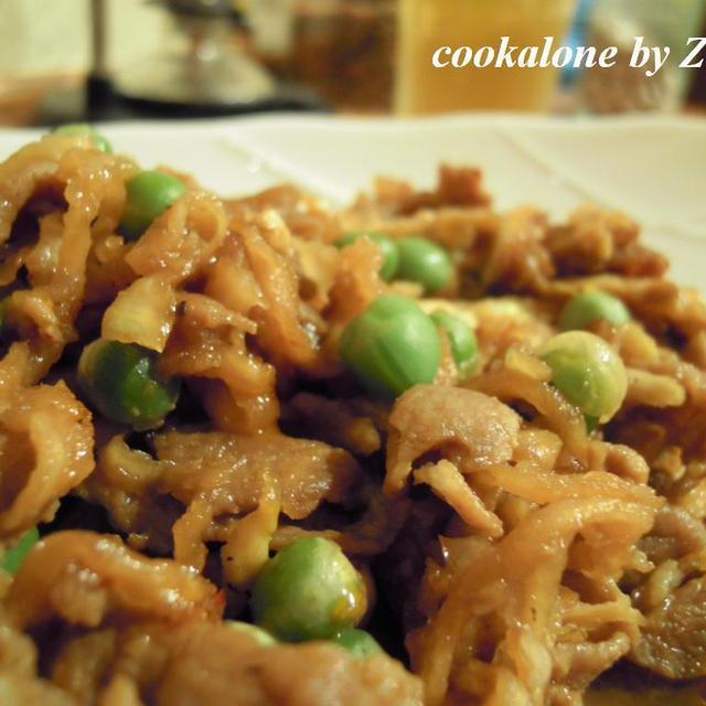 切干大根と豚肉の黒酢&生姜炒め