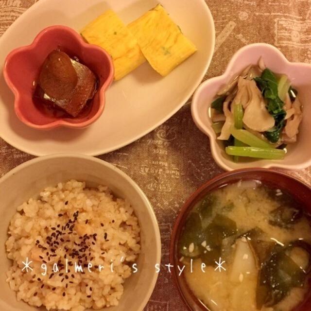 【うちごはん】ねぎ入りだし巻玉子*小松菜と舞茸のおひたし*じゃがいもとわかめのお味噌汁