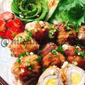豚バラとうずら卵で肉巻きチーズ卵