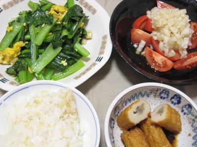 昨日の夕飯(6/16):小松菜と卵のニンニク炒め他