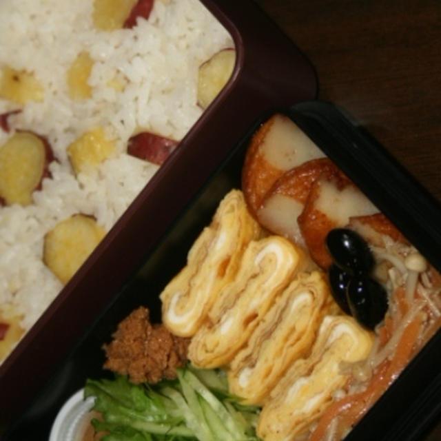 11月28日  さつま芋ごはん&蓮根鶏つくねの シチュー弁当(練習)