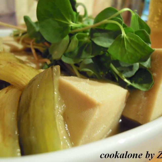 焼茄子と高野豆腐の冷たい炊き寄せ
