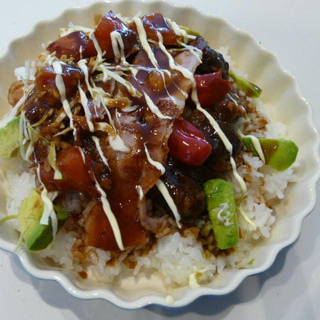 ロコモコ丼風~トマトのバルサミコソース