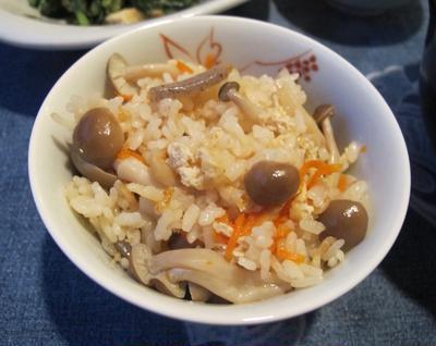 しめじの炊き込みご飯&蕪と豚肉の味噌仕立て