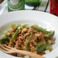 豚ひき肉と竹の子とピーマンのピリ辛炒め