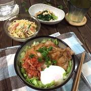 豚キムチ温玉丼♪…試合3日前の献立