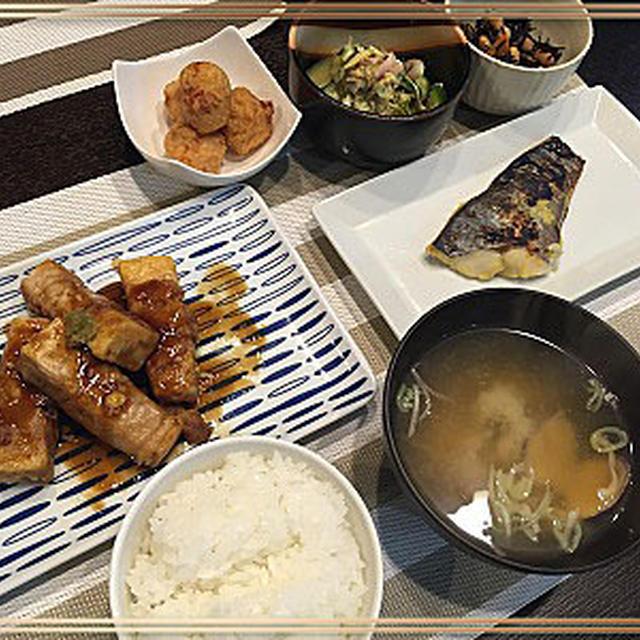 お休みの我が家の夕食「高野豆腐肉巻き・柚子胡椒風味」やブランチ模様~♪
