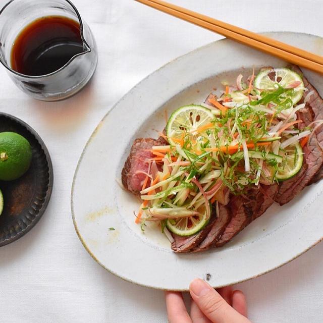 野菜を食べる夏のローストビーフ