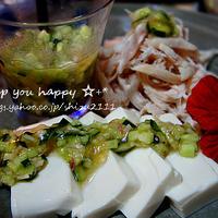 +*新生姜と春きゅうりの花椒ソース+*きゅうりの飾り切り