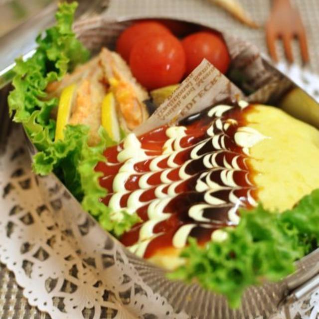 オムライスとポテサラハムカツのお弁当