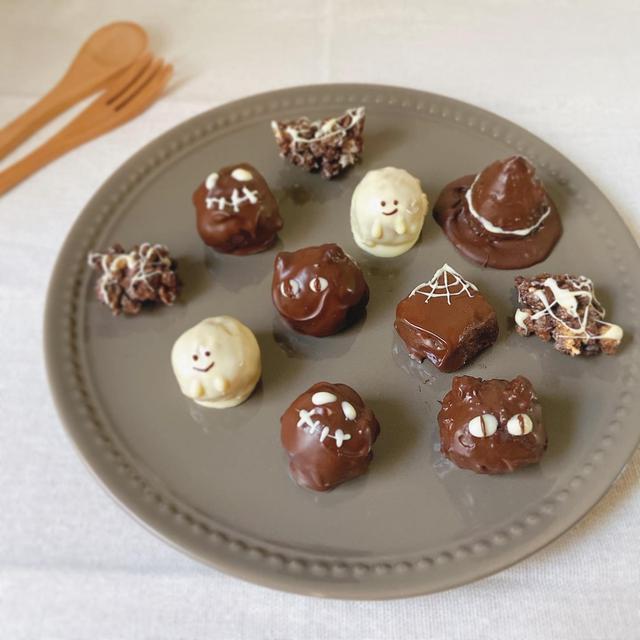 【材料4つ】オーブン不使用*スイートポテトトリュフ 可愛いハロウィンおやつ チョコとさつまいもがベストマッチ〜🍠
