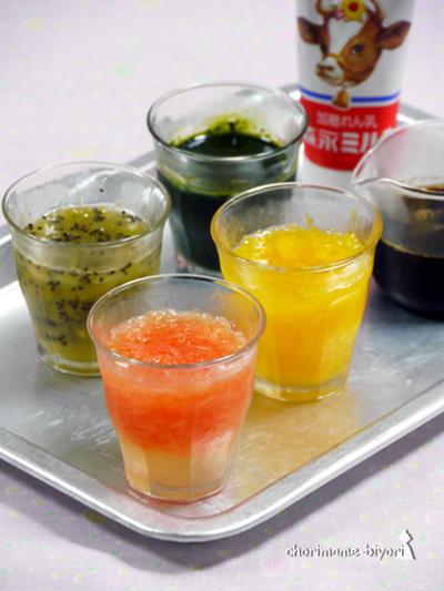 簡単かき氷シロップ。フルーツ、宇治、コーヒー♪